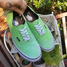 c9c6085c79 Authentic green Vans - Unisex Colour has faded in some spots but still a  great pair