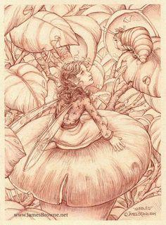Nibbles Caterpillar and Fairy Mushroom Greeting Card by brownieman, $2.75