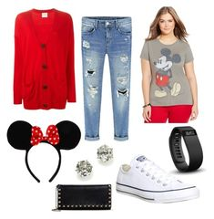 A fashion look from September 2015 featuring graphic t shirts, red cardigan and boyfriend jeans. Browse and shop related looks. Disney World Outfits, Disneyland Outfits, Vacation Outfits, Disneyland Ideas, Disneyland Birthday, Disneyland Trip, Theme Park Outfits, Plus Size Disney, Mickey Mouse Outfit