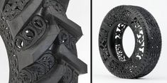 Beautiful patterns and designs carved into used car tires by Wim Delvoye.      Detailed carvings were made by hand using sharp knives. Belgian artist transforms new and recycled rubber tires into unique works of art.