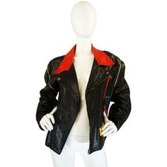 1980s Moschino Leather Crest Jacket ❤ liked on Polyvore featuring outerwear, jackets, 100 leather jacket, 1980s leather jacket, moschino, leather jackets and 80s leather jacket