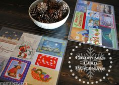 Christmas Cards recycled into holiday placemats {MamaBuzz}