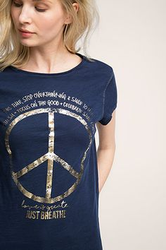 EDC / Shirt met folieprint, 100% katoen