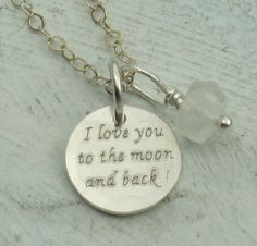 I Love You to the Moon and Back - in sterling silver with moonstone by Kathryn Riechert. $26.00, via Etsy.