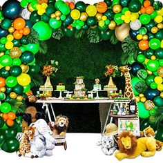 Party Rock Inc Lion King Party Supplies - Jungle Theme Party Supplies - Safari Decorations 158 PCS Balloon Garland Kit for Birthday - Baby Shower - Kids Party Favor Jungle Theme Birthday, Jungle Theme Parties, Birthday Party Themes, Lion King Party, Lion King Birthday, Safari Party Decorations, Birthday Decorations, Balloon Garland, Balloons
