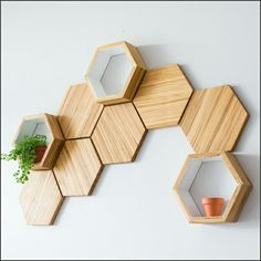 Recycled Chopsticks Are Turned Into These Honeycomb Shelves And Wall Tiles Wall Decor Set, Diy Wall, Room Decor, Wall Décor, Wall Design, House Design, Bamboo Shelf, Bamboo Wall, Honeycomb Shelves