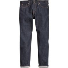 Slim Regular Selvedge Jeans $49.99 ($50) via Polyvore featuring jeans, slim fit denim jeans, slim cut jeans, button fly jeans, slim jeans and slim fit jeans