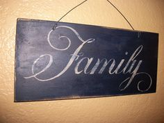 Antiqued FAMILY Sign Wall Decor Plaque Navy Blue by WoodnDoodads