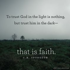 """""""To trust God in the light is nothing, but trust Him in the in the dark - that is Faith."""" - Spurgeon"""