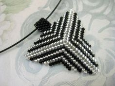 Elegant Triangle Pendant in Black and Silver - MadeByKatarina - Bead Necklaces