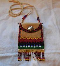 Beaded Native American Silver Coin Pouch brain tanned hide Osalita - Cherokee