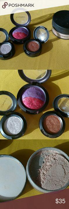 MAC eyeshadows & Highlighting Powder Nearly full product! Tested a few times but just weren't right for me. 4 eye shadows (Mi'Lady, Filament, Amber Lights, Fashion). Loose highlighting powder in Silver Dusk. MAC Cosmetics Makeup Eyeshadow