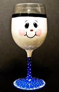 Search Snowman painted on wine glasses. Views 184424.