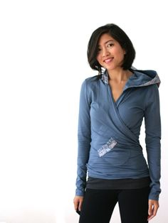CLEARANCE - Organic Sweater Wrap, Bamboo, Womens Wrap, Feathers, Bamboo Jersey Wrap, Yoga Wear, New Mom Wrap, Blue Long Sleeve Top - KANA
