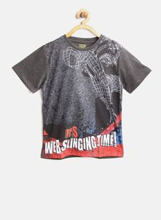 Buy YK Marvel Charcoal Grey Spider-Man Print T-shirt Online - 5485018 - Jabong Female Armor, Best Online Fashion Stores, Tshirts Online, Spiderman, Charcoal, Shirt Designs, Baby Boy, Marvel, Trends
