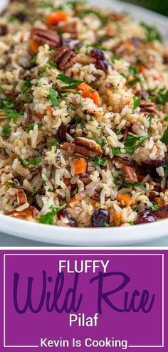 Easy Rice Pilaf, Wild Rice Pilaf, Rice Pilaf Recipe, Wild Rice Recipes, Rice Recipes For Dinner, Side Dish Recipes, Rice Side Dishes, Vegetable Side Dishes, Food Dishes