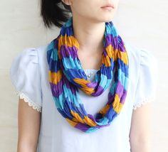 Sale Purple blue yellow stripe scarf retro by blackbeanblackbean, $5.00