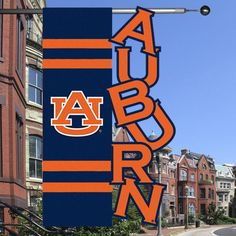 """Auburn Tigers 28"""" x 44"""" Navy Blue-Orange Cut-Out Applique Banner Flag - $29.99"""