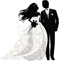 Beautiful bride and Groom Just married! Bride is wearing beautiful lace gown. This illustration is black and white and uses no gradients.