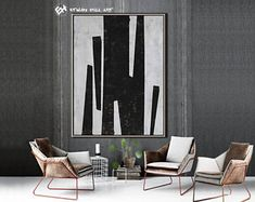 Original Painting Black White Abstract Painting, Large Wall Art Contemporary Art, Vertical Geometric Art - Ethan Hill Art No.H73V