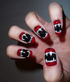 Nail art designs and ideas for different types of nails like, long nails, short nails, and medium nails. Check out more all Nail art designs here. Halloween Nail Designs, Halloween Nail Art, Halloween Vampire, Spooky Halloween, Halloween Teeth, Halloween 2014, Funny Halloween, Halloween Night, Halloween Makeup