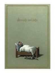 Michael Sowa  http://www.inkognito-webshop.de/poster/drucke-und-poster/30-x-24-cm/2488/erwache-und-lache?c=1237