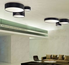 Ceiling lamp Aros plafon by El Torrent. Lampshade available in any material, attached by magnets.
