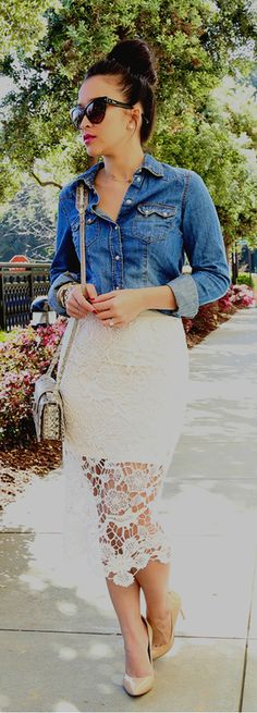 Spring / summer - street chis style - Business casual - party look - white crochet pencil skirt + Chambray shirt + nude stilettos