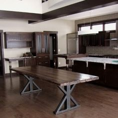 contrast dining table metal legs wood top   Dining Tables