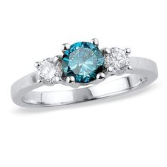 Unique and alluring, featuring an enhanced fancy blue diamond center stone.