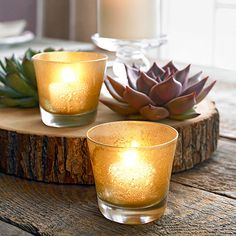 Check out this easy DIY to add some glimmer and shimmer to your fall decor: http://www.bhg.com/thanksgiving/crafts/simple-fall-crafts/?socsrc=bhgpin100714shimmervotives&page=3