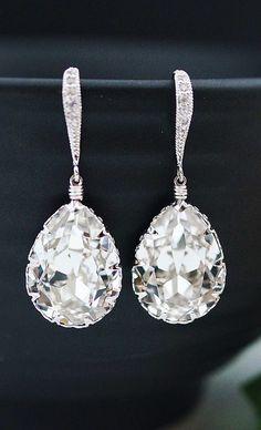 Swarovski Crystal Tear Drop Bridal Earrings from EarringsNation