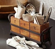 Vintage Blacksmith Flatware Caddy | Pottery Barn