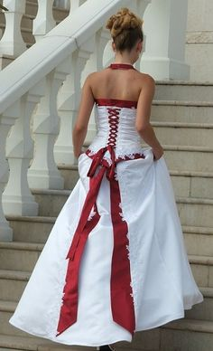 red and white wedding dresses/ bridal gown with corset ribbon back