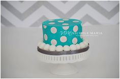 First Birthday Aqua Blue Polka Dot Smash Cake