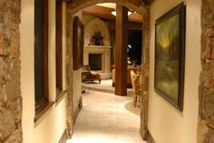 Lovely, rustic hallway in a Tuscan style home.
