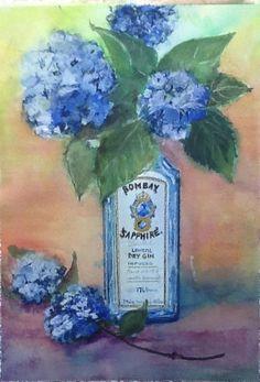 Bombay blues (Mixed media) Gin, Globe, Mixed Media, Blues, Painting, Balloon, Painting Art, Mixed Media Art, Paintings