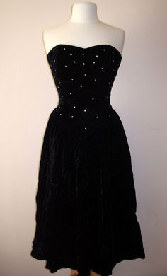 Black Velvet Rhinestone Dress