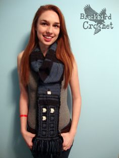 blackbirdcrochet:  Posting again to get it around. The Tardis Scarf is now available here!