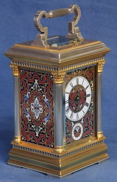 c.1885 French Gilt and Silvered Bronze Carriage Clock with Enameled Panels. - Sundialfarm