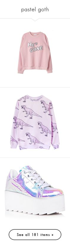 """""""pastel goth"""" by clea69 ❤ liked on Polyvore featuring tops, hoodies, sweatshirts, sweaters, shirts, shirt top, pink shirt, pink top, pink sweatshirts and purple top"""