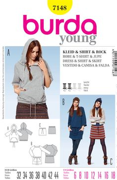 Misses Dresses, Shirts and Skirts Burda Sewing Pattern No. 7148. Size 6-18.