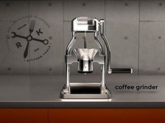 This is amazing and Stunning Chrome design matching the Classic ROK Espresso machine to grind coffee at your disposal. Manual Coffee Grinder, Espresso Machine, Industrial Design, Coffee Maker, Chrome, Barista, Classic, Amazing, Kitchen