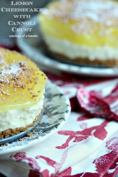 No Bake Lemon Cheesecake with Cannoli Crust | This easy no bake lemon cheesecake is perfect for those hot summer days where you want a fabulous dessert but don't want to turn on the oven.