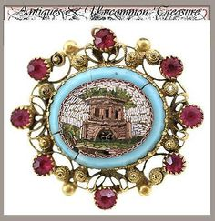 http://rubies.work/0625-multi-gemstone-ring/ Antique Victorian Era Micro Mosaic 18k Gold & Ruby Brooch, Architectural