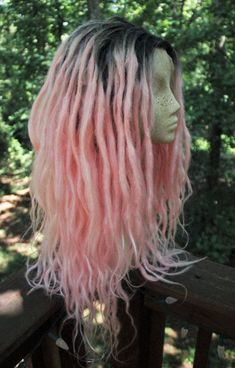 Pastel Pink Synthetic Lace Front Dreadlock Wig by SisterSarahsShop