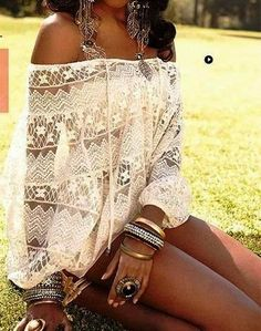 See more Off Shoulder White Boho Lace Topq