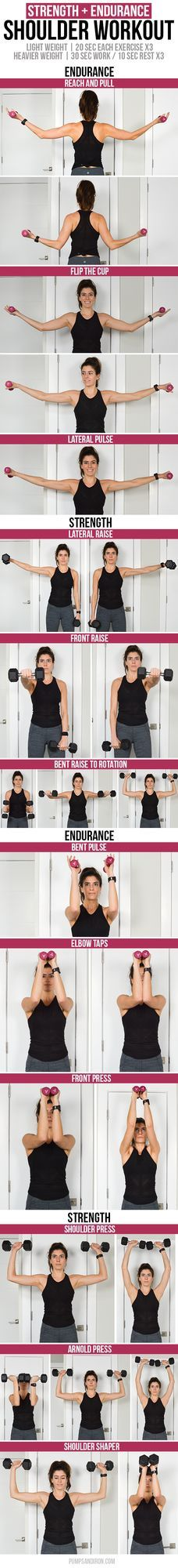 Shoulder Workout: Endurance Burnout + Strength Exercises | Pumps & Iron | Bloglovin'