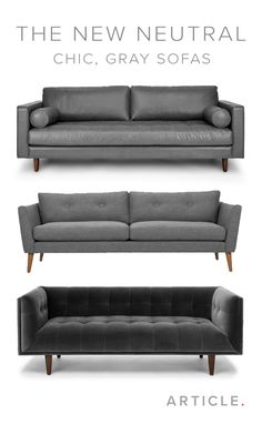 The gray sofa is a decor must-have. It seamlessly blends well with most existing furniture and can be a blendable neutral or a standout centerpiece. Condo Living, My Living Room, Home And Living, Living Room Decor, Living Room Inspiration, Home Decor Inspiration, Furniture Decor, Furniture Design, Furniture Buyers
