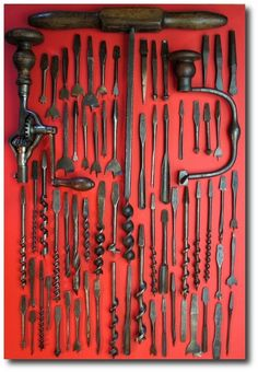 handy drills by nonk on Flickr Keywords: Architectural Salvage, Beautiful Tool Displays - Garage Organization Ideas- Architectural Tools, Antique Tools, Collector Tools, Garage Organization, Garage Storage, Storage Ideas, Garage Tool Storage, Garage Cabinets